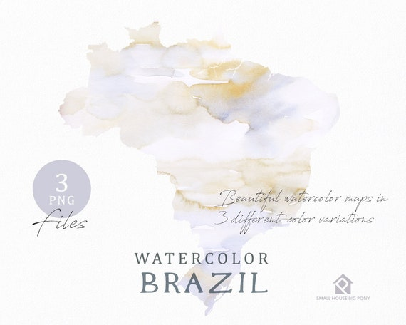 Brazil Map, Watercolor Map, Instant Download, Digital Map, Map Clipart, Wall Art, Color Map Clip Art, Custom Map, Watercolor Map