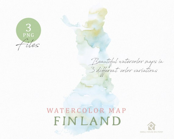 Finland map, Watercolor Map, Instant Download, Digital Map, Map Clipart, Wall Art, Color Map Clip Art, Custom Map, Watercolor Map
