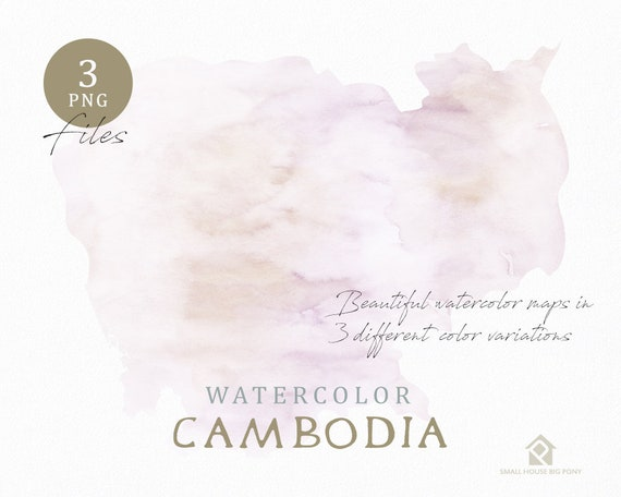 Cambodia Map, Watercolor Map, Instant Download, Digital Map, Map Clipart, Wall Art, Color Map Clip Art, Custom Map, Watercolor Map