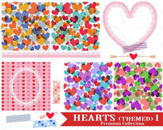 Hearts clip art, clipart,  heart clipart paper set, lace heart, clip art hearts, heart tape, clipart heart