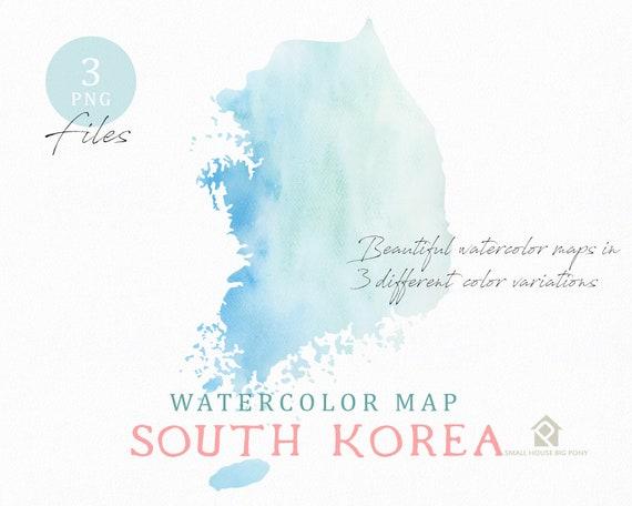 South Korea Map, Watercolor Map, Instant Download, Digital Map, Map Clipart, Wall Art, Color Map Clip Art, Custom Map, Watercolor Map