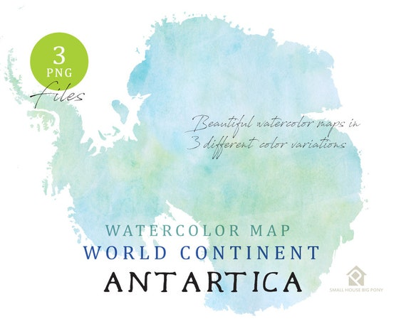 Antartica - Continent Map, Watercolor Map, Digital Map, Map Clipart, Wall Art, Color Map Clip Art, Custom Map, Watercolor Map