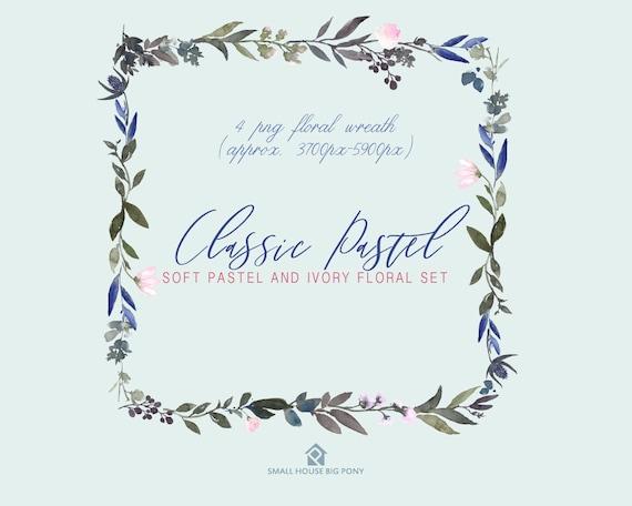 Digital Clipart- Watercolor leaves  Clipart, wreath Clip art, leaf Clipart, wedding diy clip art- Classic Pastel Wreaths