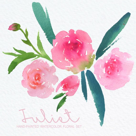 Watercolour Floral Clipart: Blush Roses, Watercolour Clip Art/Rose/Individual PNG files/Hand Painted-Juliet Roses