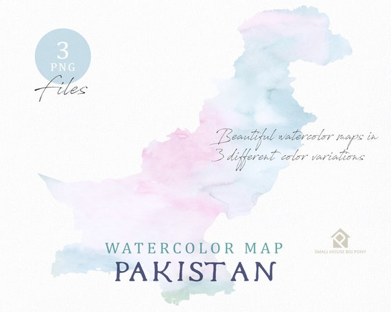 Pakistan Map, Watercolor Map, Instant Download, Digital Map, Map Clipart, Wall Art, Color Map Clip Art, Custom Map, Watercolor Map