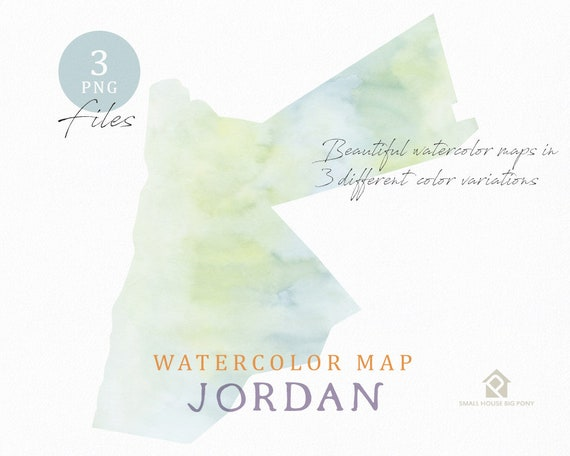 Jordan Map, Watercolor Map, Instant Download, Digital Map, Map Clipart, Wall Art, Color Map Clip Art, Custom Map, Watercolor Map