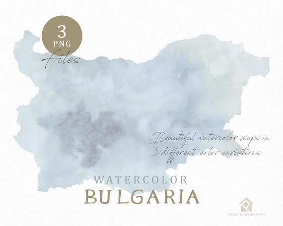 Bulgaria Map, Watercolor Map, Instant Download, Digital Map, Map Clipart, Wall Art, Color Map Clip Art, Custom Map, Watercolor Map