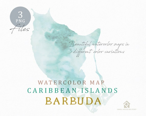 Barbuda Map, Watercolor Map, Instant Download, Digital Map, Map Clipart, Wall Art, Color Map Clip Art, Custom Map, Watercolor Map