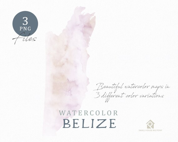 Belize Map, Watercolor Map, Instant Download, Digital Map, Map Clipart, Wall Art, Color Map Clip Art, Custom Map, Watercolor Map