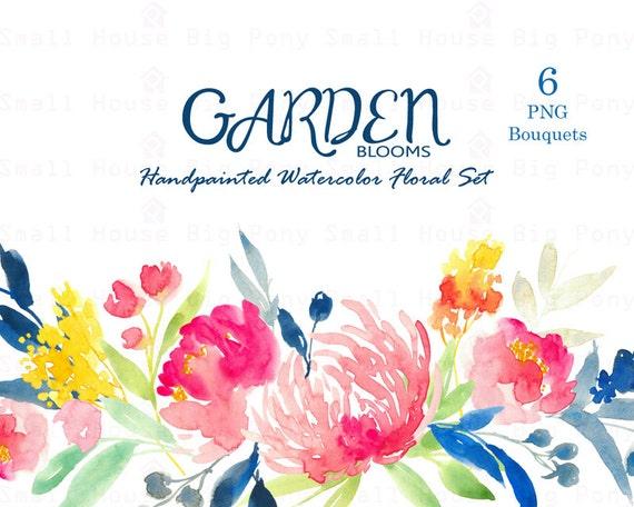 Digital Clipart- Watercolor Flower Clipart, peonies Clip art, Floral Bouquet Clipart, wedding flowers clip art- Garden Bloom