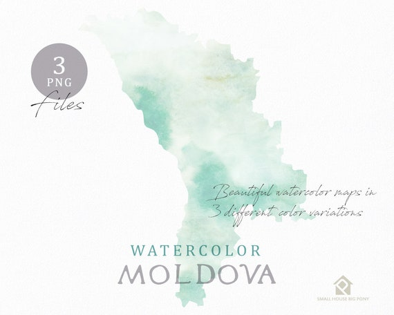 Moldova Map, Watercolor Map, Instant Download, Digital Map, Map Clipart, Wall Art, Color Map Clip Art, Custom Map, Watercolor Map