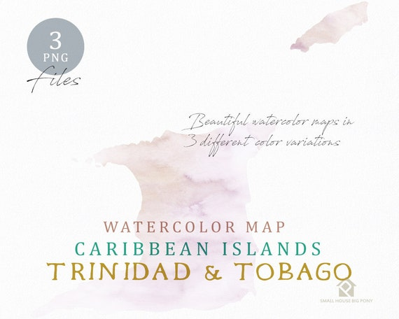 Trinidad & Tobago Map, Watercolor Map, Instant Download, Digital Map, Map Clipart, Wall Art, Color Map Clip Art, Custom Map, Watercolor Map