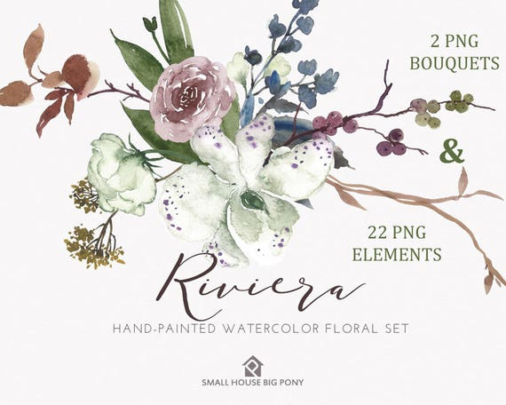 Watercolour Flower Clip Art Collection - Hand Painted Graphics,  hand drawn clip art,  flower clip art - Riviera Elements with 2 Bouquets