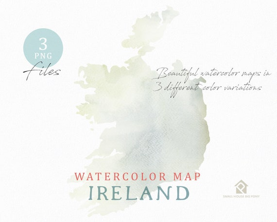 Ireland Map, Watercolor Map, Instant Download, Digital Map, Map Clipart, Wall Art, Color Map Clip Art, Custom Map, Watercolor Map