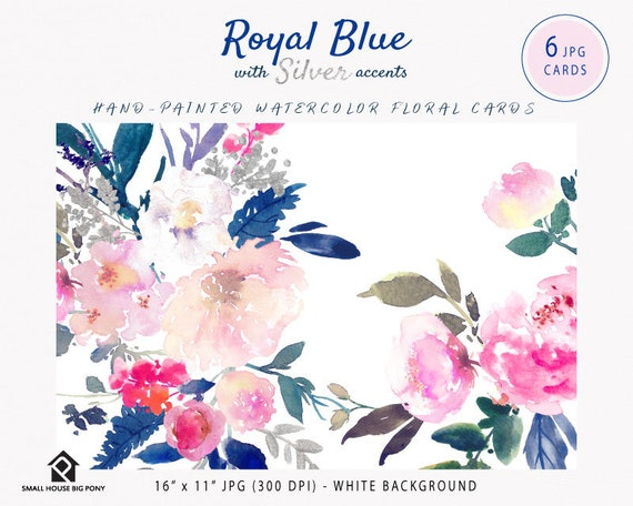 Digital Clipart- Watercolor flowers Clipart, Frame Clip art, Flower Clipart, wedding diy clip art- Royal Blue with Silver Cards
