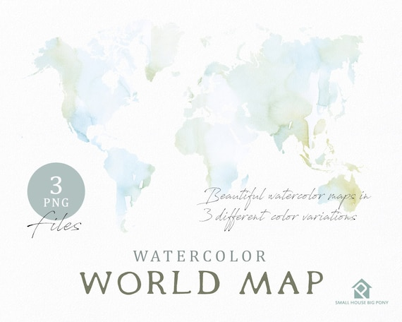 Watercolor World Map, Instant Download, Digital Map, Map Clipart, Wall Art, Color Map Clip Art, Custom Map, Watercolor Map