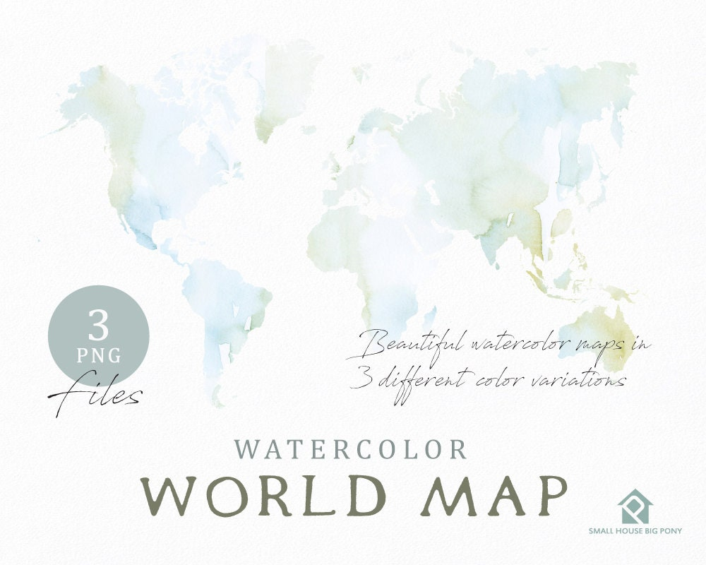 Color Your Own World Map.Watercolor World Map Instant Download Digital Map Map Clipart