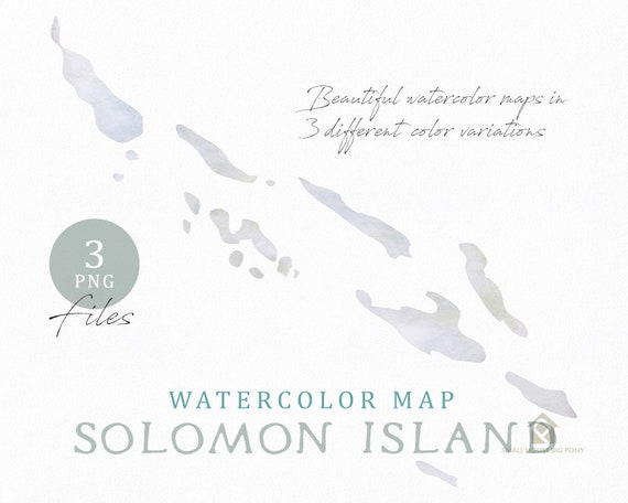 Solomon Island Map, Watercolor Map, Instant Download, Digital Map, Map Clipart, Wall Art, Color Map Clip Art, Custom Map, Watercolor Map