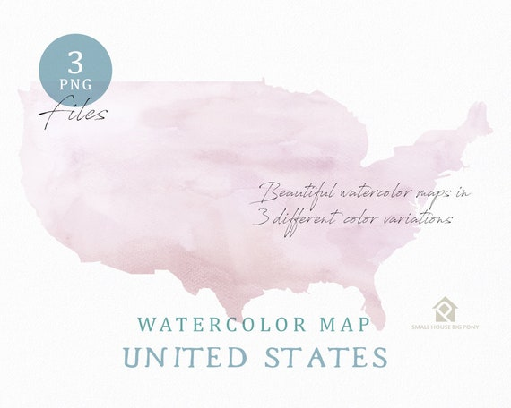 United States Map, Watercolor Map, Digital Map, Map Clipart, Wall Art, Color Map Clip Art, Custom Map, Watercolor Map