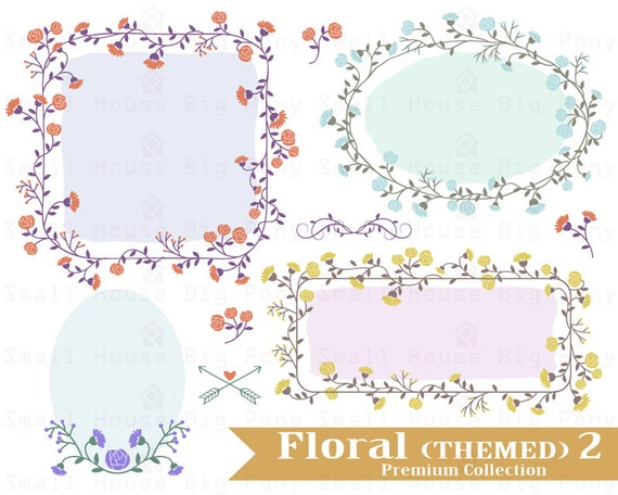 Flower Clip art, Clipart  Garland Set - digital clip art - 1 JPG and 11 PNG files included in Zip