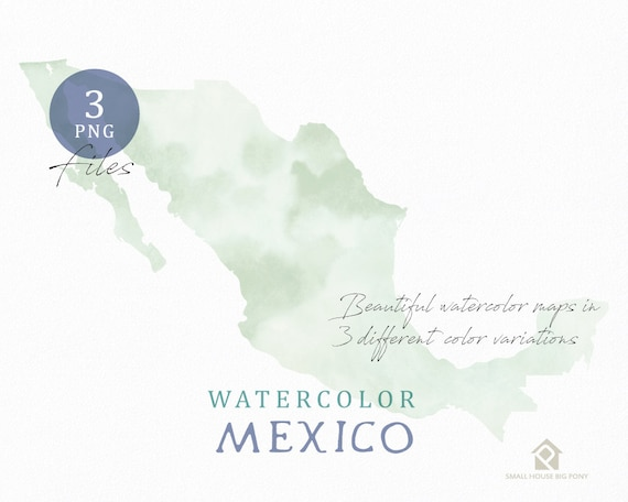 Mexico Map, Watercolor Map, Instant Download, Digital Map, Map Clipart, Wall Art, Color Map Clip Art, Custom Map, Watercolor Map