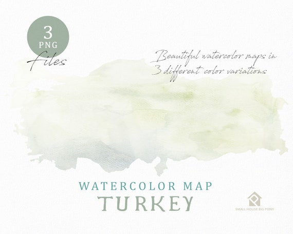 Turkey Map, Watercolor Map, Instant Download, Digital Map, Map Clipart, Wall Art, Color Map Clip Art, Custom Map, Watercolor Map