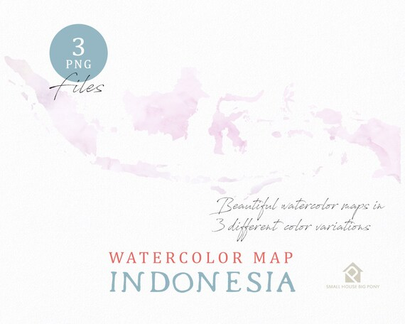 Indonesia Map, Watercolor Map, Instant Download, Digital Map, Map Clipart, Wall Art, Color Map Clip Art, Custom Map, Watercolor Map