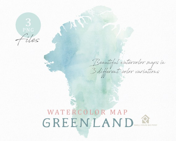 Greenland map, Watercolor Map, Instant Download, Digital Map, Map Clipart, Wall Art, Color Map Clip Art, Custom Map, Watercolor Map