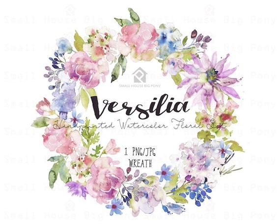 Watercolour Flower Clip Art -  Handmade, watercolour clipart, digital download, instant download, wedding diy elements - Versilia Wreath
