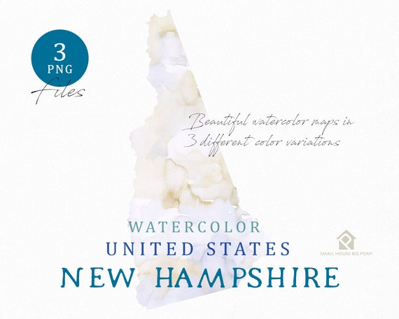 New Hampshire Map, Watercolor Map, Digital Map, Map Clipart, Wall Art, Color Map Clip Art, Custom Map, Watercolor Map