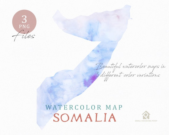 Somalia Map, Watercolor Map, Instant Download, Digital Map, Map Clipart, Wall Art, Color Map Clip Art, Custom Map, Watercolor Map