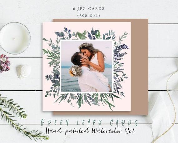 Digital Clipart- Watercolor leaves  Clipart, wreath Clip art, leaf Clipart, wedding diy clip art- Leafy Green Cards
