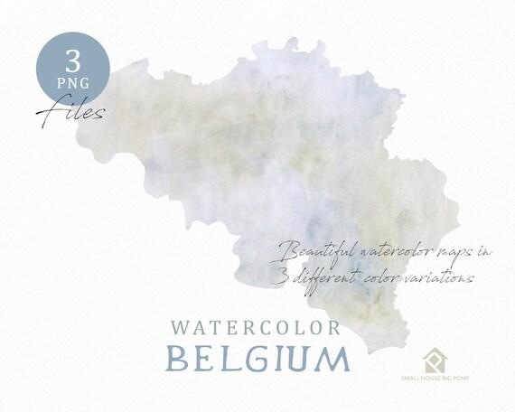 Belgium Map, Watercolor Map, Instant Download, Digital Map, Map Clipart, Wall Art, Color Map Clip Art, Custom Map, Watercolor Map