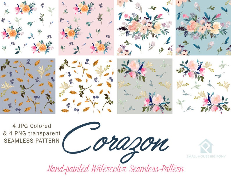 Hand Painted Graphics Watercolour Flower Clip Art Collection Corozon Seamless Floral Pattern