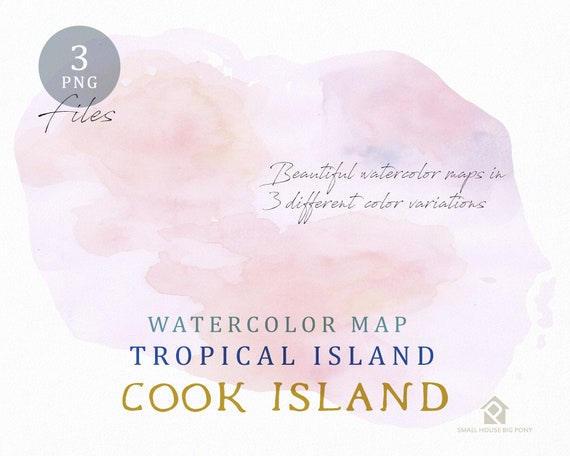 Cook Island Map, Watercolor Map, Instant Download, Digital Map, Map Clipart, Wall Art, Color Map Clip Art, Custom Map, Watercolor Map