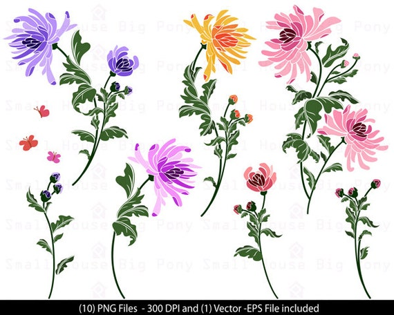 Chrysanthemums, Floral Clip Art, Flowers Clip Art, Pretty Flowers Clip Art, Digital Scrapbooking, Floral Art, Digital Download Clipart, Art