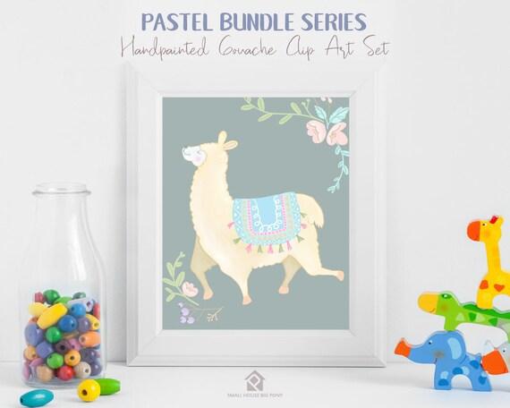 Llama Pastel, pastel, florals, pastel - Llama Bliss Pastel Series