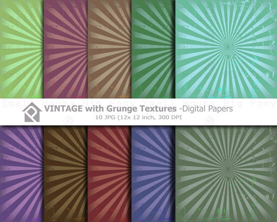10 Vintage Clip art, Clipart with Grunge Texture Digital Papers- Instant download digital clip art - 10 JPG files