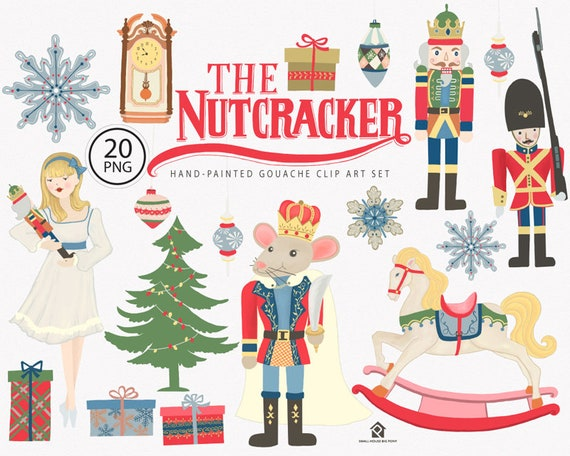 Digital Clipart- Watercolor  Clipart, Christmas Clip art, Holiday Celebration clip art- The Nutcracker Ballet ELEMENTS
