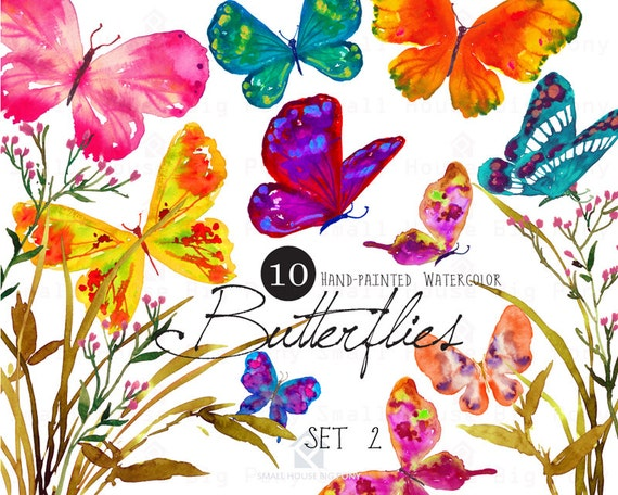 Digital Clipart- Watercolor Butterflies Clipart, Butterfly Clip art, wedding DIY clip art- Butterflies Set2