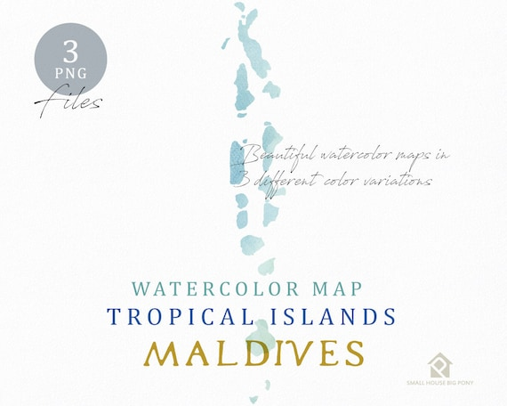 Maldives Map, Watercolor Map, Instant Download, Digital Map, Map Clipart, Wall Art, Color Map Clip Art, Custom Map, Watercolor Map