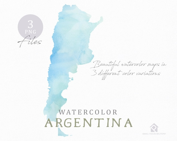 Argentina Map, Watercolor World Map, Instant Download, Digital Map, Map Clipart, Wall Art, Color Map Clip Art, Custom Map, Watercolor Map