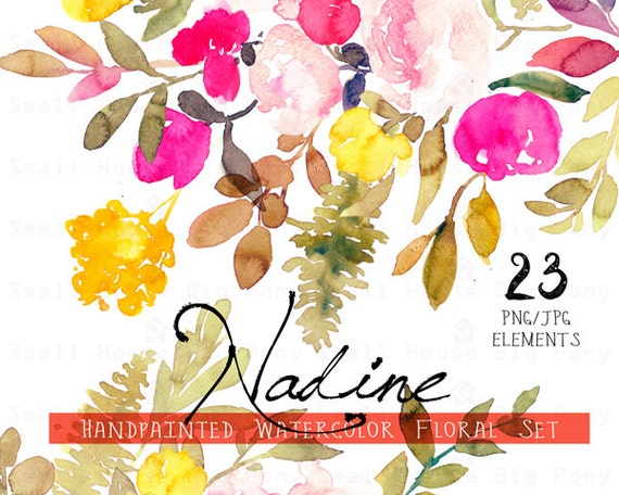 Digital Clipart- Watercolor Flower Clipart, flower Clip art, Floral Bouquet Clipart, rustic flower, wedding flower clip art- Nadine Elements