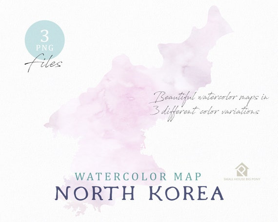 North Korea Map, Watercolor Map, Instant Download, Digital Map, Map Clipart, Wall Art, Color Map Clip Art, Custom Map, Watercolor Map