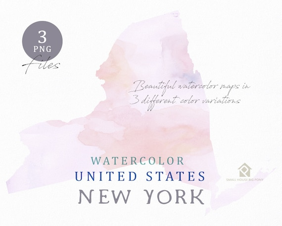 New York Map, Watercolor Map, Digital Map, Map Clipart, Wall Art, Color Map Clip Art, Custom Map, Watercolor Map