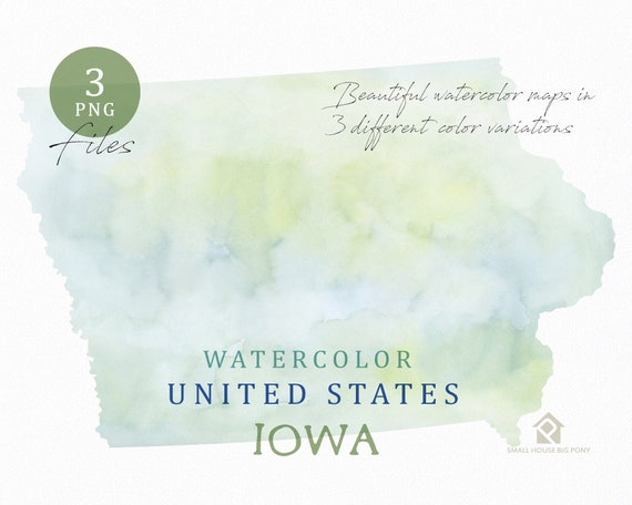 Iowa Map, Watercolor Map, Digital Map, Map Clipart, Wall Art, Color Map Clip Art, Custom Map, Watercolor Map