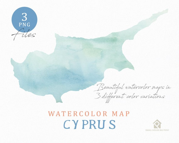 Cyprus Map, Watercolor Map, Instant Download, Digital Map, Map Clipart, Wall Art, Color Map Clip Art, Custom Map, Watercolor Map