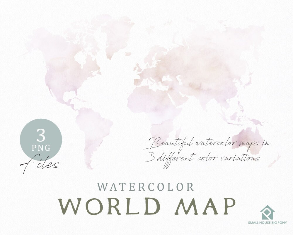 Watercolor World Map Instant Download Digital Map Map Clipart