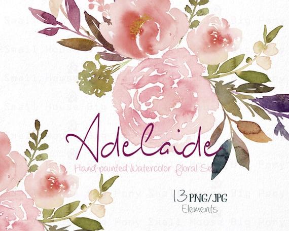 Digital Clipart- Watercolor Flower Clipart, peonies Clip art, Floral  Clipart, wedding flowers clip art- Adelaide