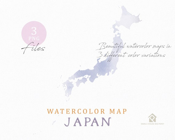 Japan Map, Watercolor Map, Instant Download, Digital Map, Map Clipart, Wall Art, Color Map Clip Art, Custom Map, Watercolor Map